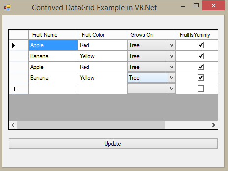 A Basic Example of CRUD with DataGridView in VB Net – contrived example